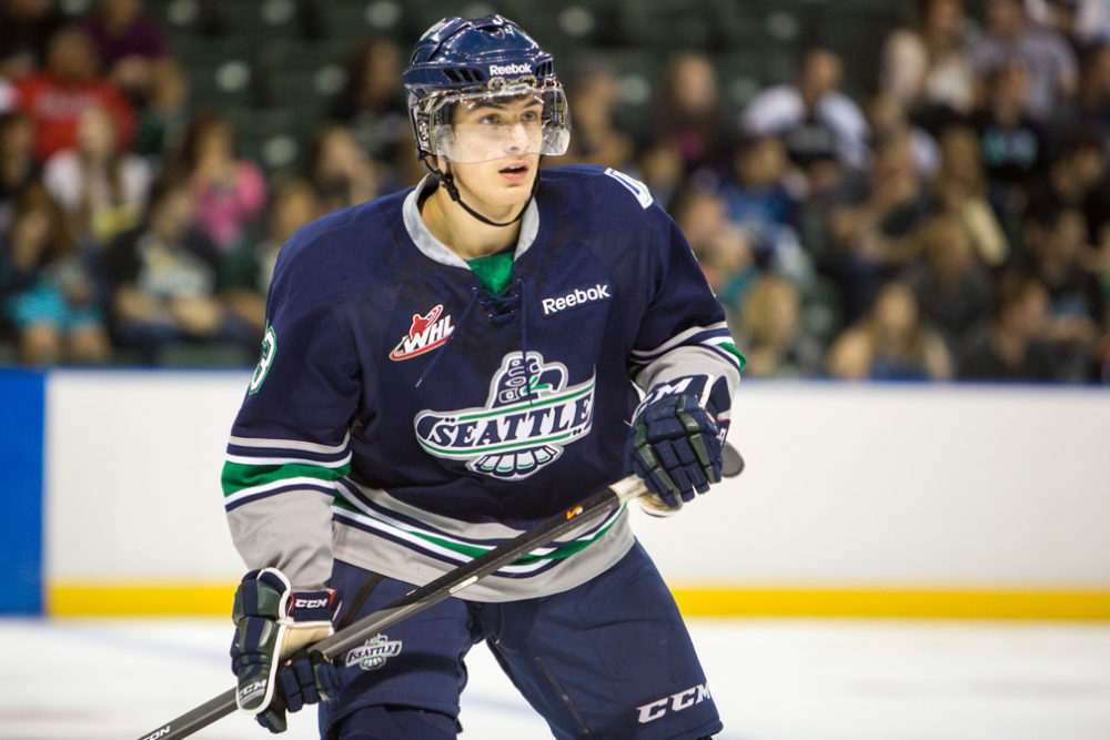 Seattle's rookie phenom Mathew Barzal has the T-Birds flying (photo Christopher Mast)